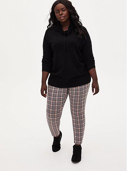 Plus Size Studio Signature Stretch Light Taupe Plaid Double Knit Ankle Skinny Pant, PLAID, alternate