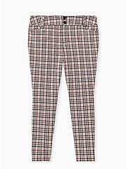 Plus Size Studio Signature Stretch Light Taupe Plaid Double Knit Ankle Skinny Pant, PLAID, hi-res