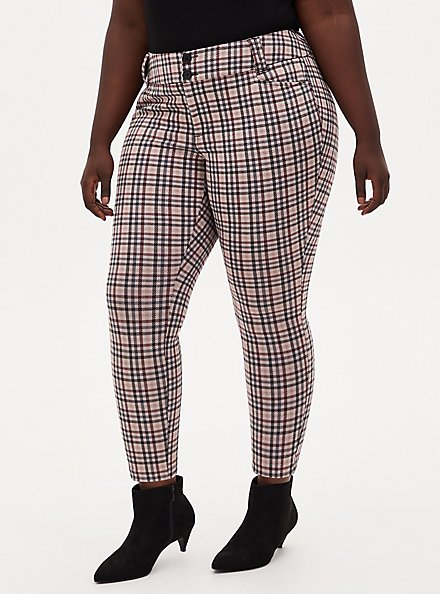 Plus Size Studio Signature Stretch Light Taupe Plaid Double Knit Ankle Skinny Pant, PLAID, hi-res
