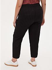 Black Stripe Twill Drawstring Crop Pant, STRIPE -BLACK, alternate