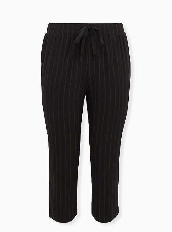 Black Stripe Twill Drawstring Crop Pant, , flat