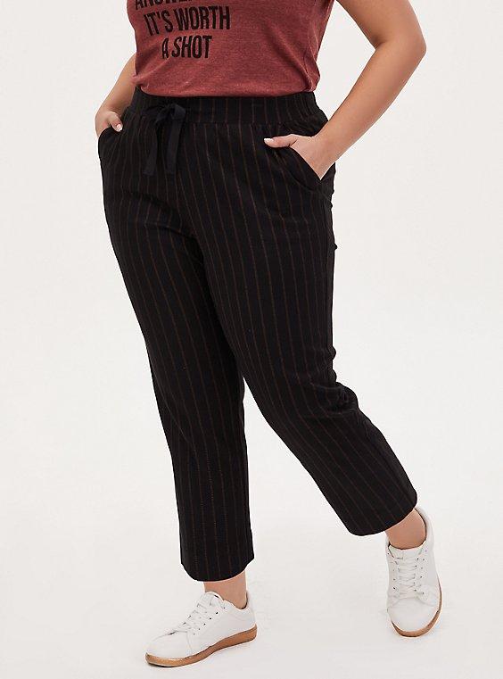 Black Stripe Twill Drawstring Crop Pant, STRIPE -BLACK, hi-res