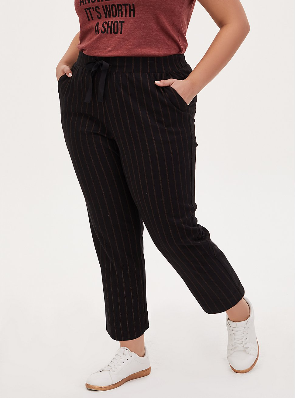 Black Stripe Twill Drawstring Crop Pant, , hi-res
