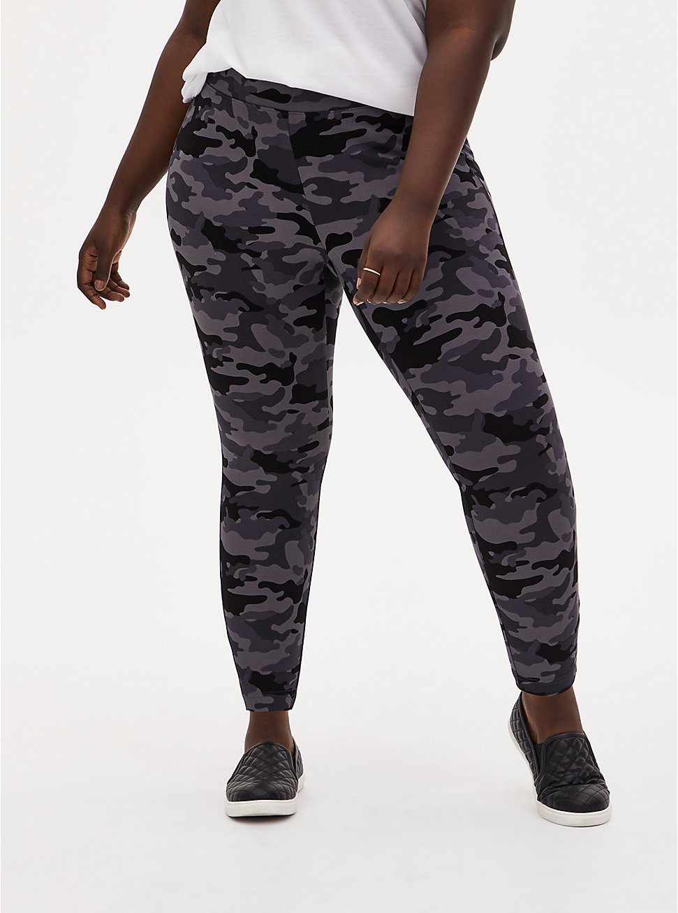 Studio Ponte Slim Fix Grey Camo Pull-On Pixie Pant, CAMO, hi-res