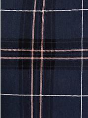 Plus Size Navy Plaid Ponte Drawstring Paperbag Pant, PLAID, alternate