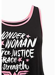 Breast Cancer Awareness - Wonder Woman Pink & Black Back Keyhole Side Slit Active Tank, DEEP BLACK, alternate