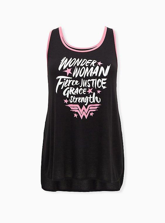 Breast Cancer Awareness - Wonder Woman Pink & Black Back Keyhole Side Slit Active Tank, , hi-res