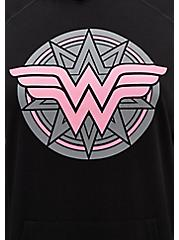 Plus Size Breast Cancer Awareness - Wonder Woman Pink & Black Terry Active Hoodie, DEEP BLACK, alternate