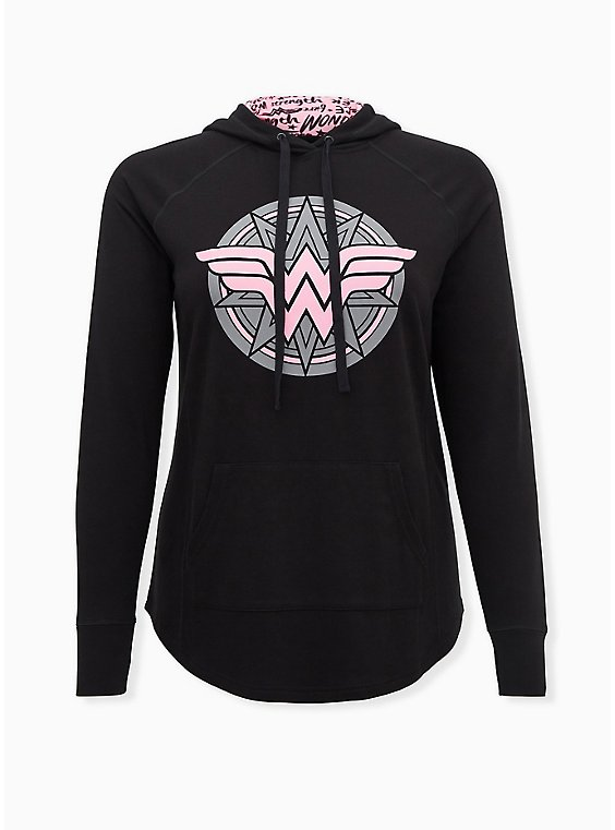 Plus Size Breast Cancer Awareness - Wonder Woman Pink & Black Terry Active Hoodie, , hi-res