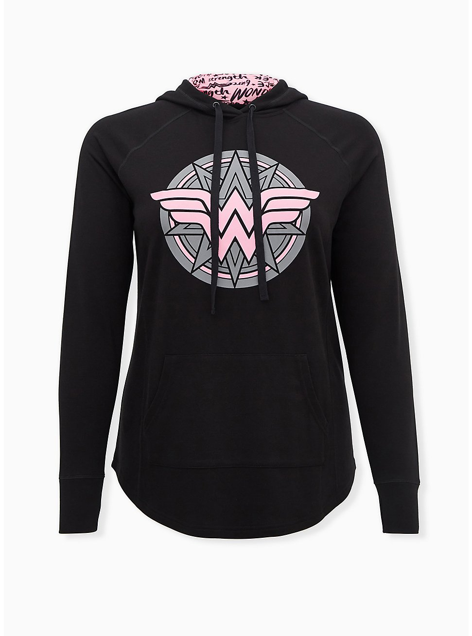 Plus Size Breast Cancer Awareness - Wonder Woman Pink & Black Terry Active Hoodie, DEEP BLACK, hi-res