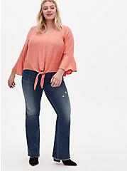 Plus Size Mid Rise Flare Jean - Vintage Stretch Medium Wash with Frayed hem, BACK COUNTRY, alternate