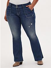 Plus Size Mid Rise Flare Jean - Vintage Stretch Medium Wash with Frayed hem, BACK COUNTRY, hi-res