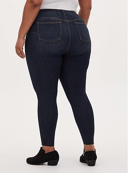 Bombshell Skinny Jean - Premium Stretch Dark Wash with Raw Hem, NEWCASTLE, alternate