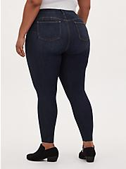Plus Size Bombshell Skinny Jean - Premium Stretch Dark Wash with Raw Hem, NEWCASTLE, alternate