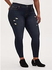 Plus Size Bombshell Skinny Jean - Premium Stretch Dark Wash with Raw Hem, NEWCASTLE, hi-res