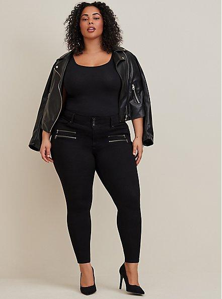 Multi Zip Jegging - Super Soft Black, BLACK, alternate