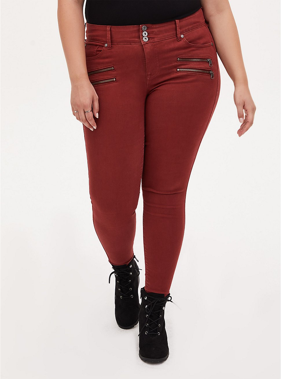 Multi Zip Jegging - Super Soft Brick Red, MADDER BROWN, hi-res