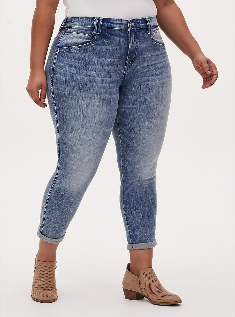 High Rise Boyfriend Straight Jean - Vintage Stretch Light Wash , BURNOUT, hi-res