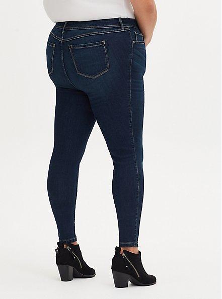 Plus Size MidFit Super Skinny Jean - Super Soft Dark Wash, BASIN, alternate