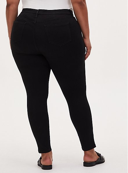 Plus Size Mid Rise Skinny Jean – Super Soft Stretch Black, BLACK, alternate