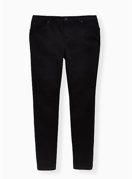 Plus Size Mid Rise Skinny Jean – Super Soft Stretch Black, BLACK, hi-res
