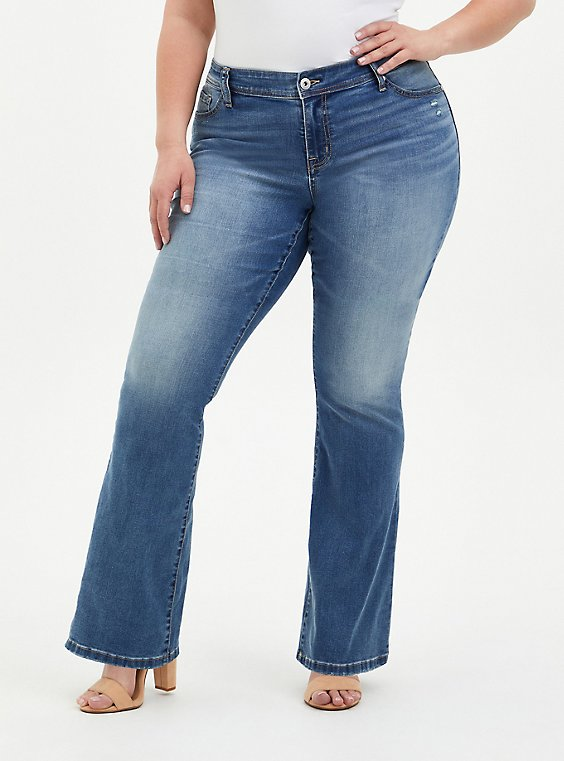 Plus Size Mid Rise Slim Boot Jean - Super Stretch Light Wash, TYPHOON, hi-res