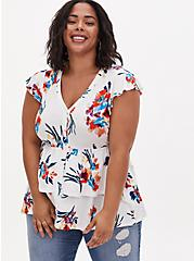 Plus Size Super Soft White Floral Button Front Layered Babydoll Top, BRIGHT WHITE, hi-res