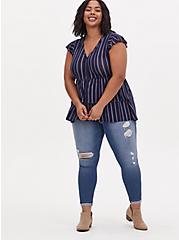 Super Soft Navy Stripe Layered Babydoll Top , , alternate