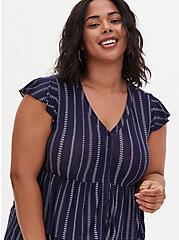 Super Soft Navy Stripe Layered Babydoll Top , , alternate