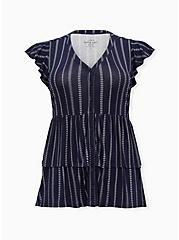 Super Soft Navy Stripe Layered Babydoll Top , , hi-res