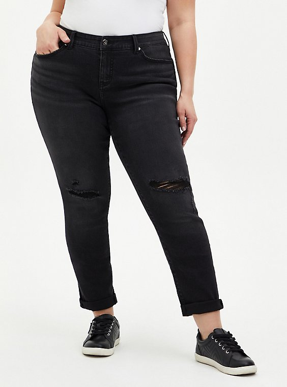 Boyfriend Straight Jean - Vintage Stretch Washed Black, BLACKOUT, hi-res