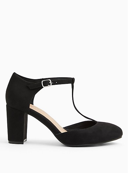 Black Faux Suede T-Strap Mary Jane Tapered Heel (WW), BLACK, alternate