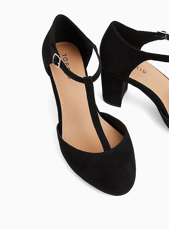 Black Faux Suede T-Strap Mary Jane Tapered Heel (WW), BLACK, hi-res