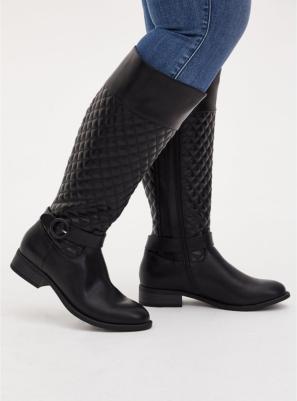 Black Quilted Faux Leather Knee-High Boot (WW), BLACK, hi-res