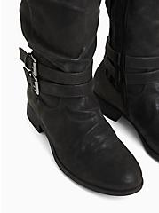 Plus Size Black Oiled Faux Suede Mid-Calf Tall Boot (WW), BLACK, alternate