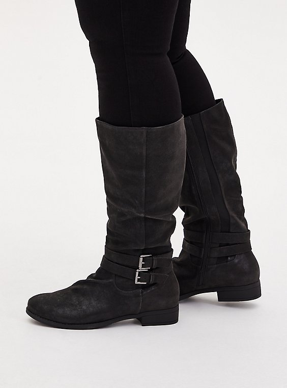 Plus Size Black Oiled Faux Suede Mid-Calf Tall Boot (WW), , hi-res