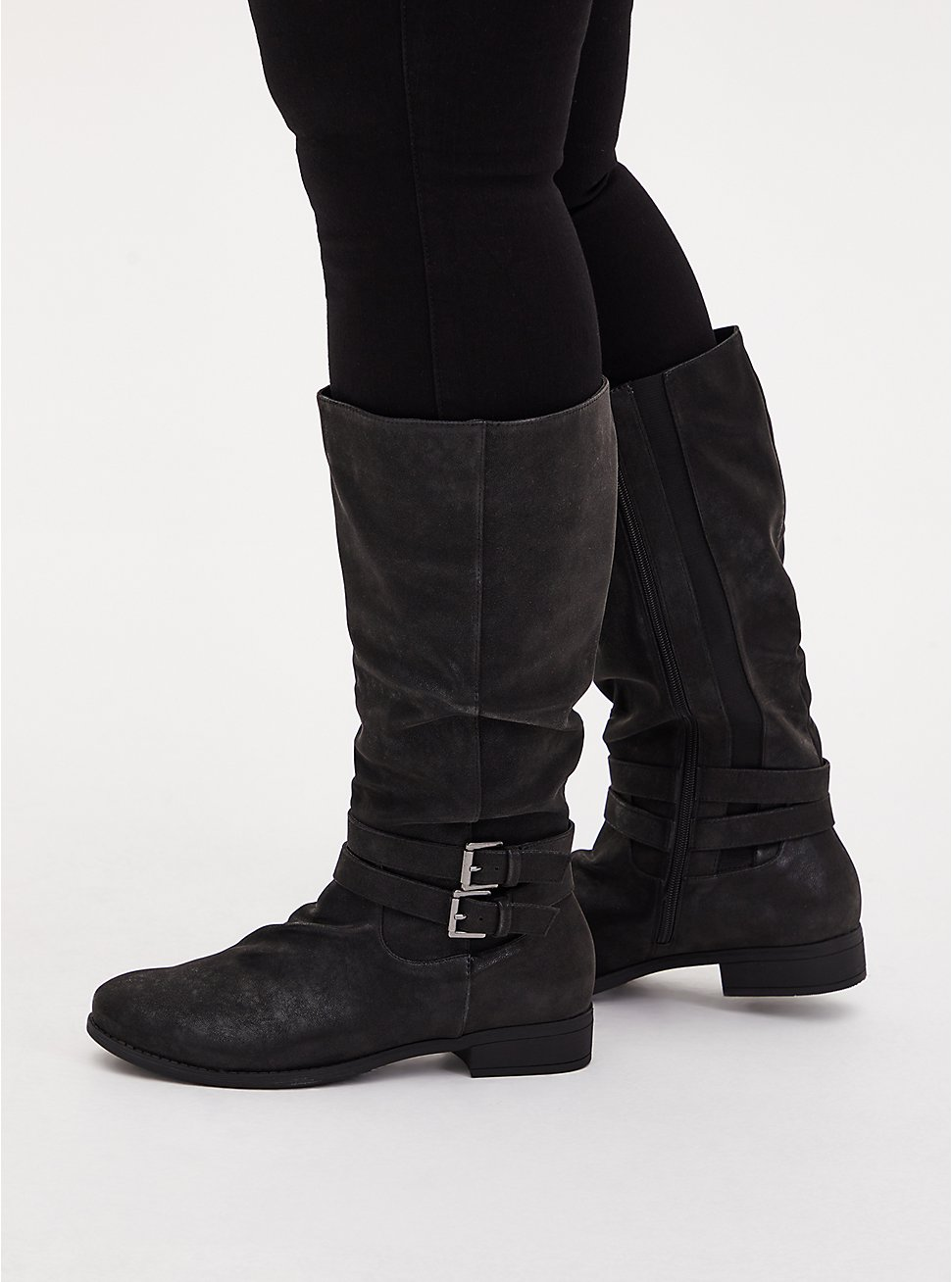 Plus Size Black Oiled Faux Suede Mid-Calf Tall Boot (WW), BLACK, hi-res
