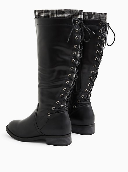 Black Faux Leather Plaid Trimmed Lace-Back Knee-High Boot (WW), BLACK, alternate