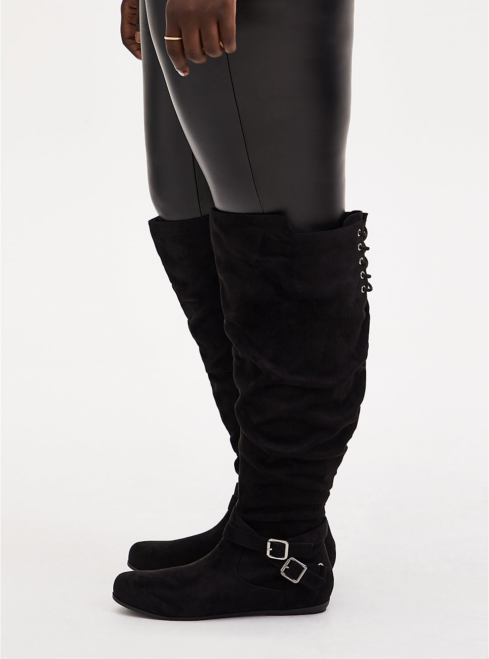 Black Faux Suede Corset Back Over-The-Knee Boot (WW), BLACK, hi-res