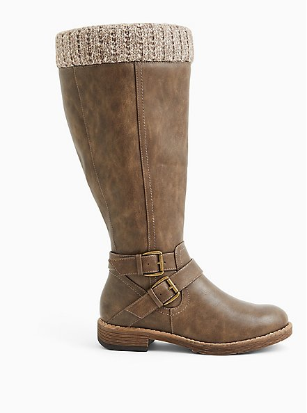 Taupe Faux Leather Sweater-Trimmed Knee-High Boot (WW & Wide to Extra Wide Calf), TAN/BEIGE, alternate