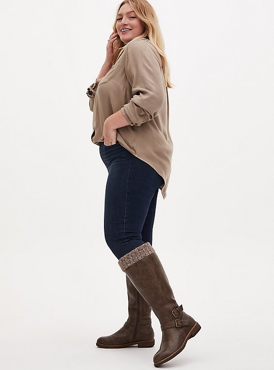 Taupe Faux Leather Sweater-Trimmed Knee-High Boot (WW & Wide to Extra Wide Calf), , hi-res