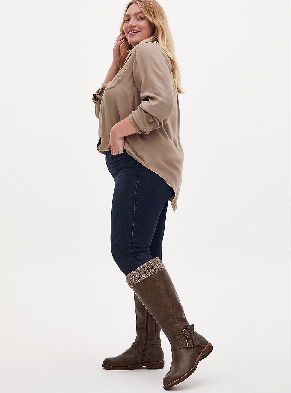 Taupe Faux Leather Sweater-Trimmed Knee-High Boot (WW & Wide to Extra Wide Calf), TAN/BEIGE, hi-res