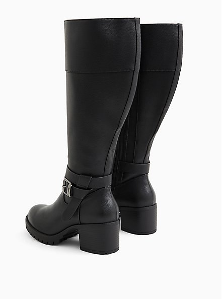 Plus Size Black Faux Leather Lug Sole Knee-High Boot (WW), BLACK, alternate