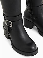 Black Faux Leather Lug Sole Knee-High Boot (WW), BLACK, alternate