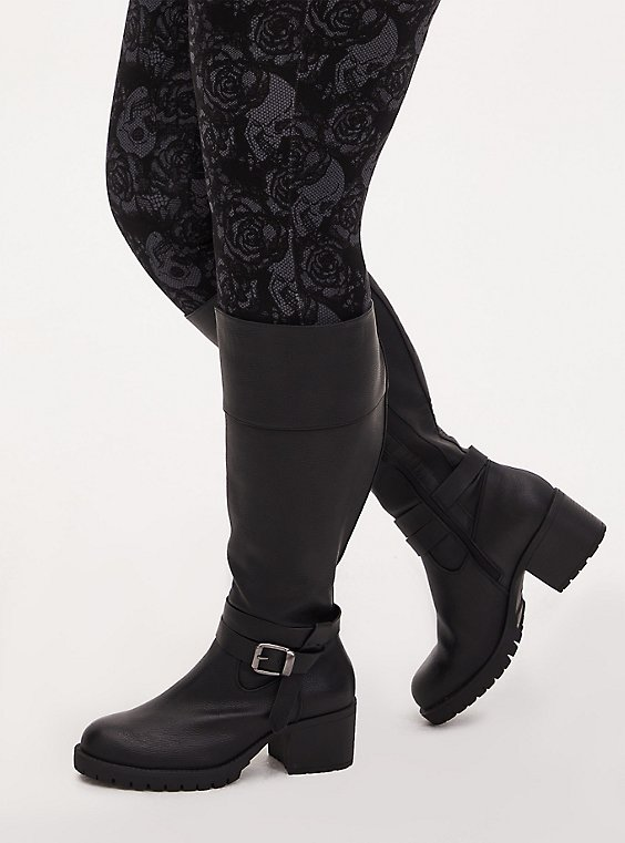Black Faux Leather Lug Sole Knee-High Boot (WW), BLACK, hi-res