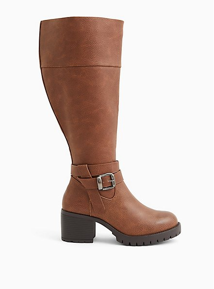 Brown Faux Leather Lug Sole Knee-High Boot (WW), BROWN, alternate