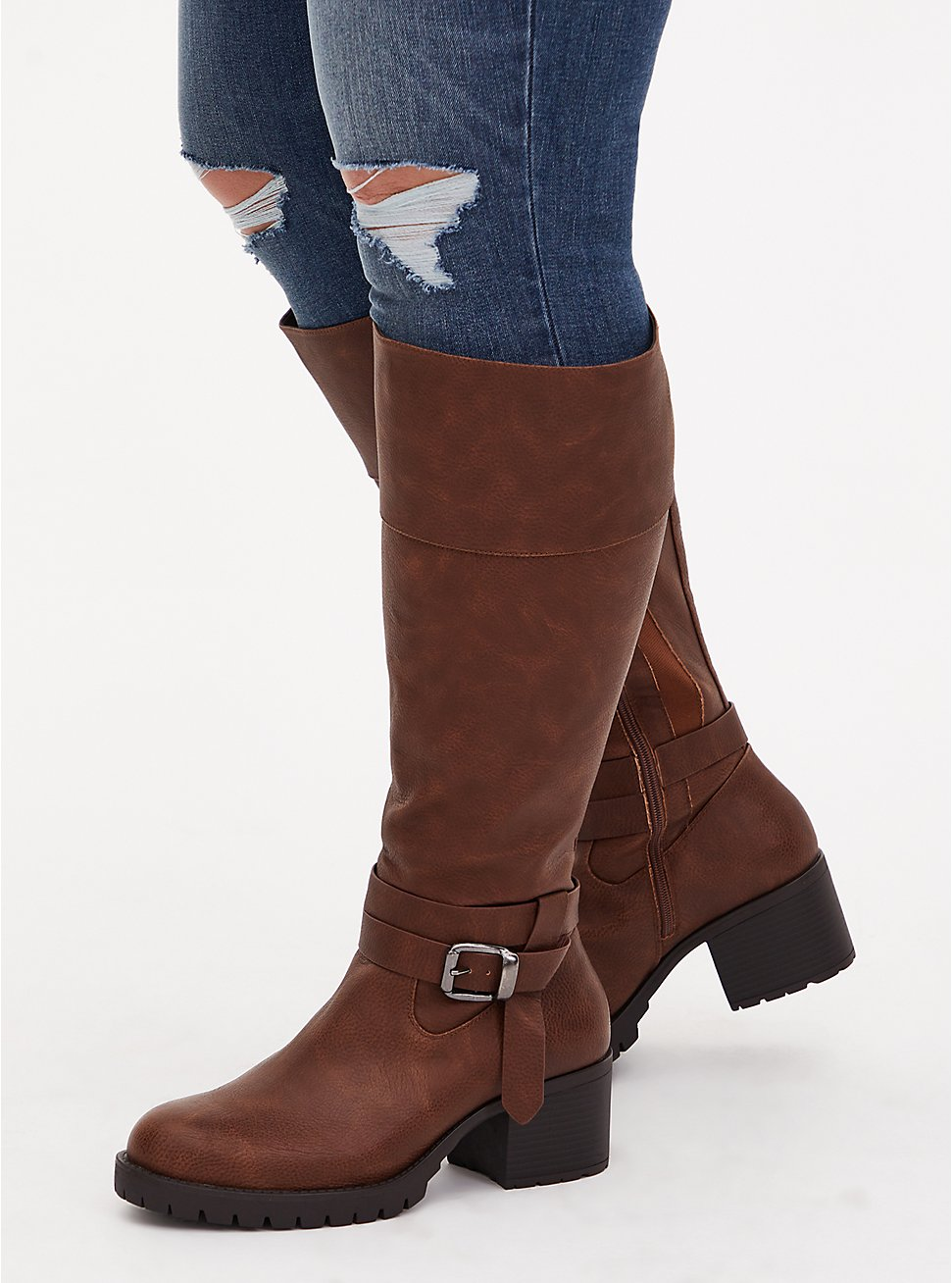 Plus Size Brown Faux Leather Lug Sole Knee-High Boot (WW), BROWN, hi-res