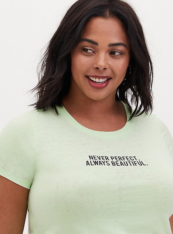 Never Perfect Always Beautiful Classic Fit Crew Tee - Vintage Burnout Spring Green, , hi-res