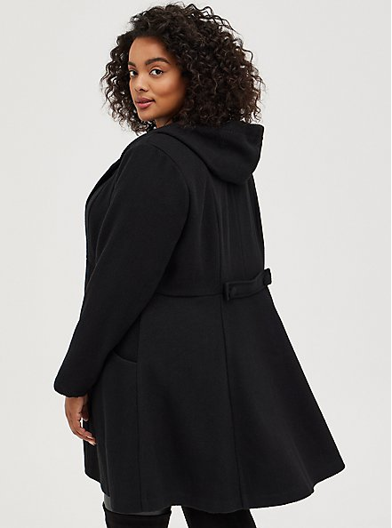Black Woolen Hooded Fit & Flare Coat , DEEP BLACK, alternate