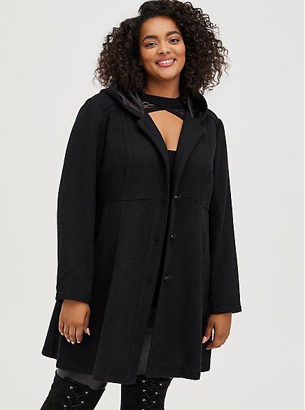 Black Woolen Hooded Fit & Flare Coat , DEEP BLACK, hi-res